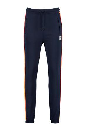 joggingbroek Cad met zijstreep donkerblauw/geel/rood