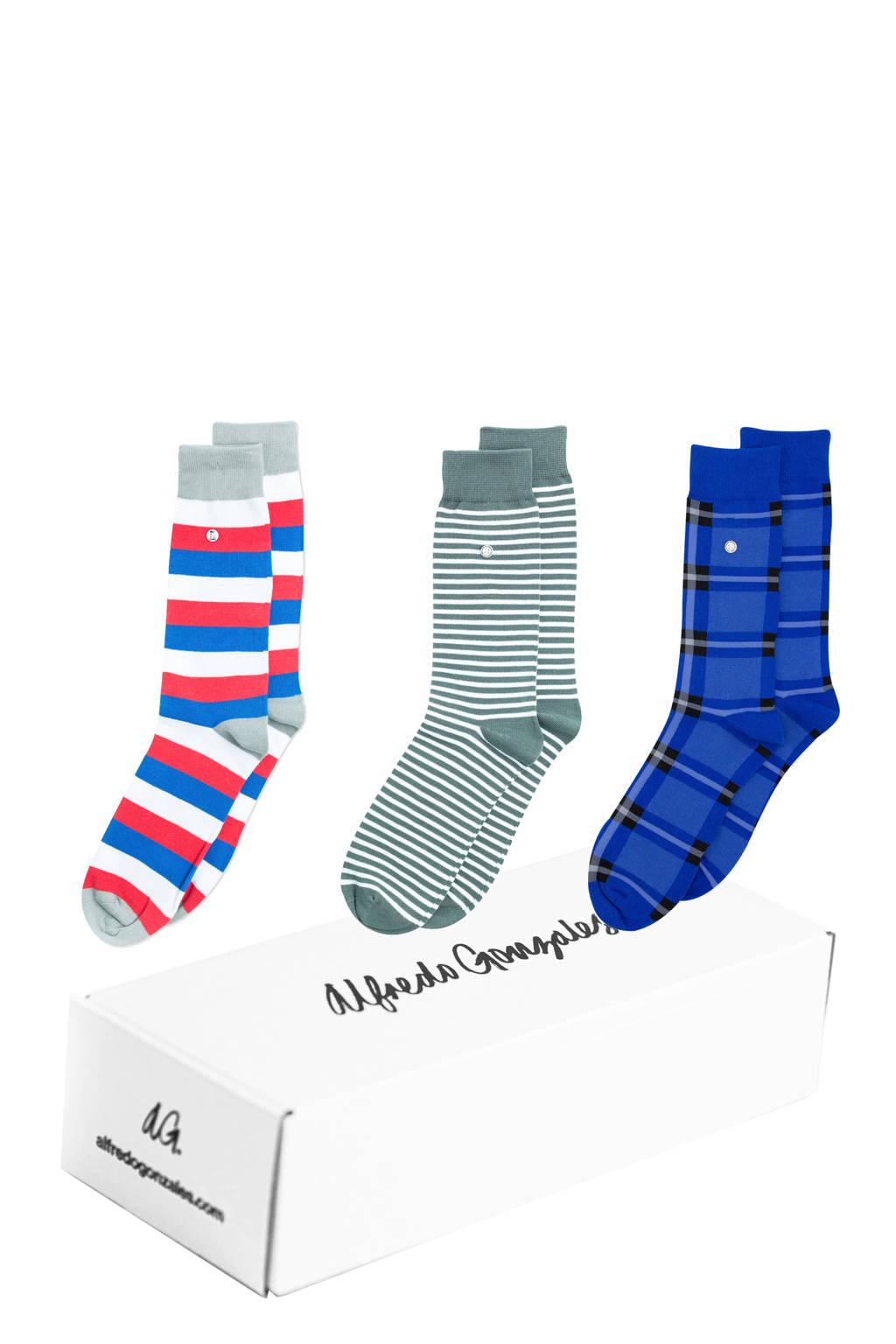 Alfredo Gonzales giftbox sokken - set van 3 President multi, Blauw/groen/rood