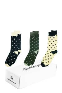 Alfredo Gonzales giftbox sokken - set van 3 Optimist multi, Donkerblauw/groen/geel