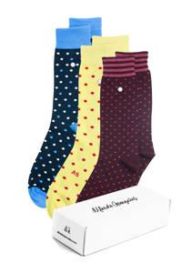 Alfredo Gonzales giftbox sokken - set van 3 Dots multi, Rood/geel/donkerblauw