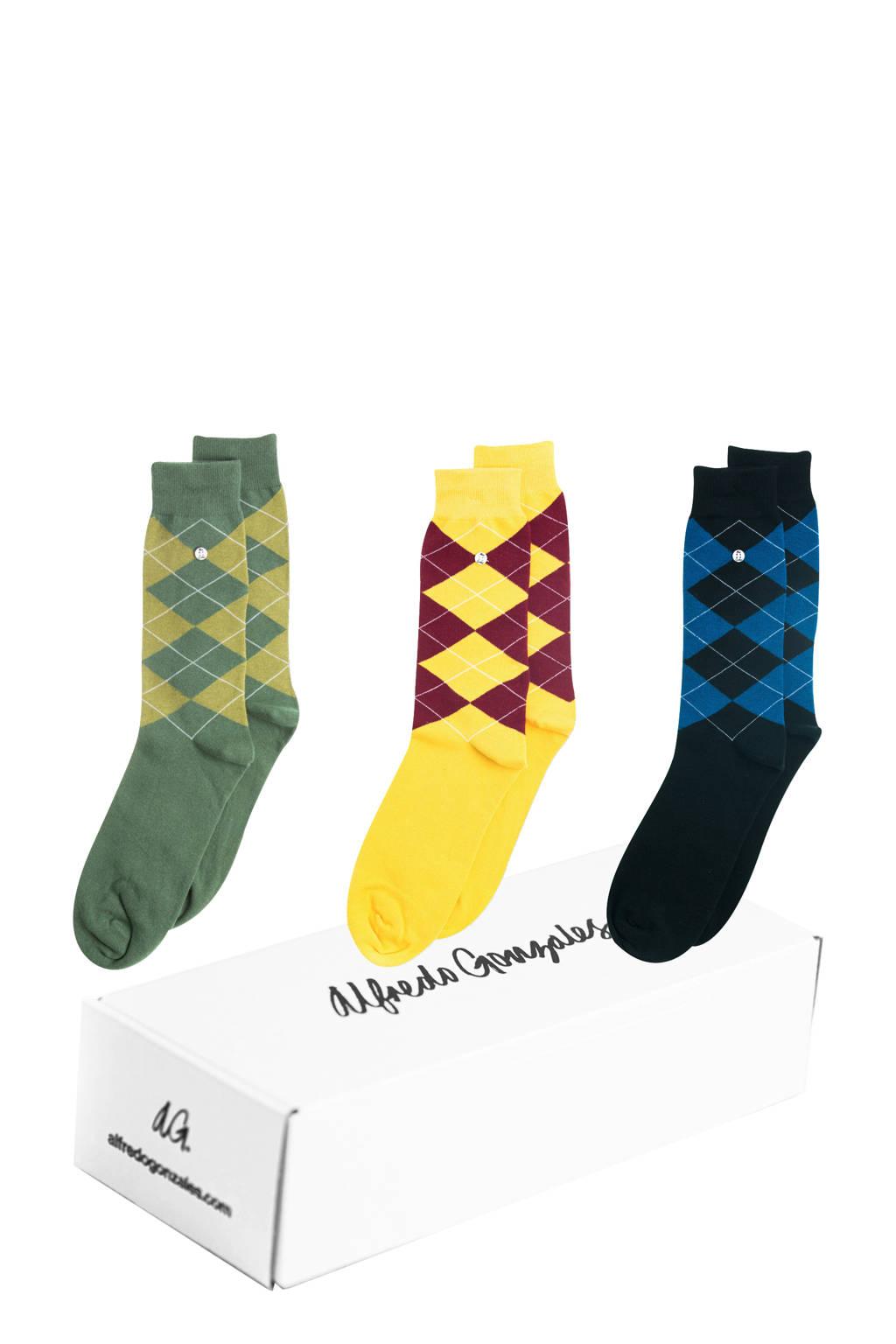Alfredo Gonzales giftbox sokken - set van 3 Wallstreet multi, Groen/geel/blauw