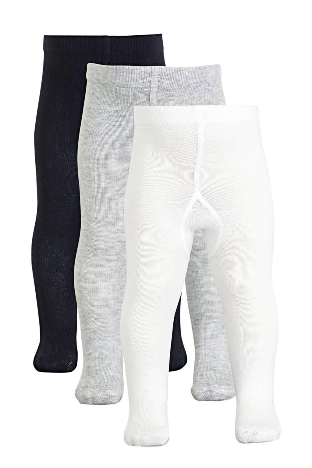 NAME IT BABY maillot - set van 3 wit/grijs/donkerblauw, Wit/grijs/donkerblauw