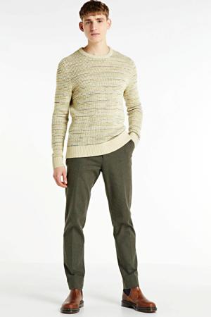gemêleerde grofgebreide trui beige