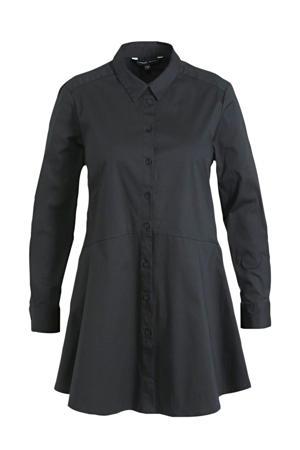 fit and flare blouse met klassieke kraag zwart