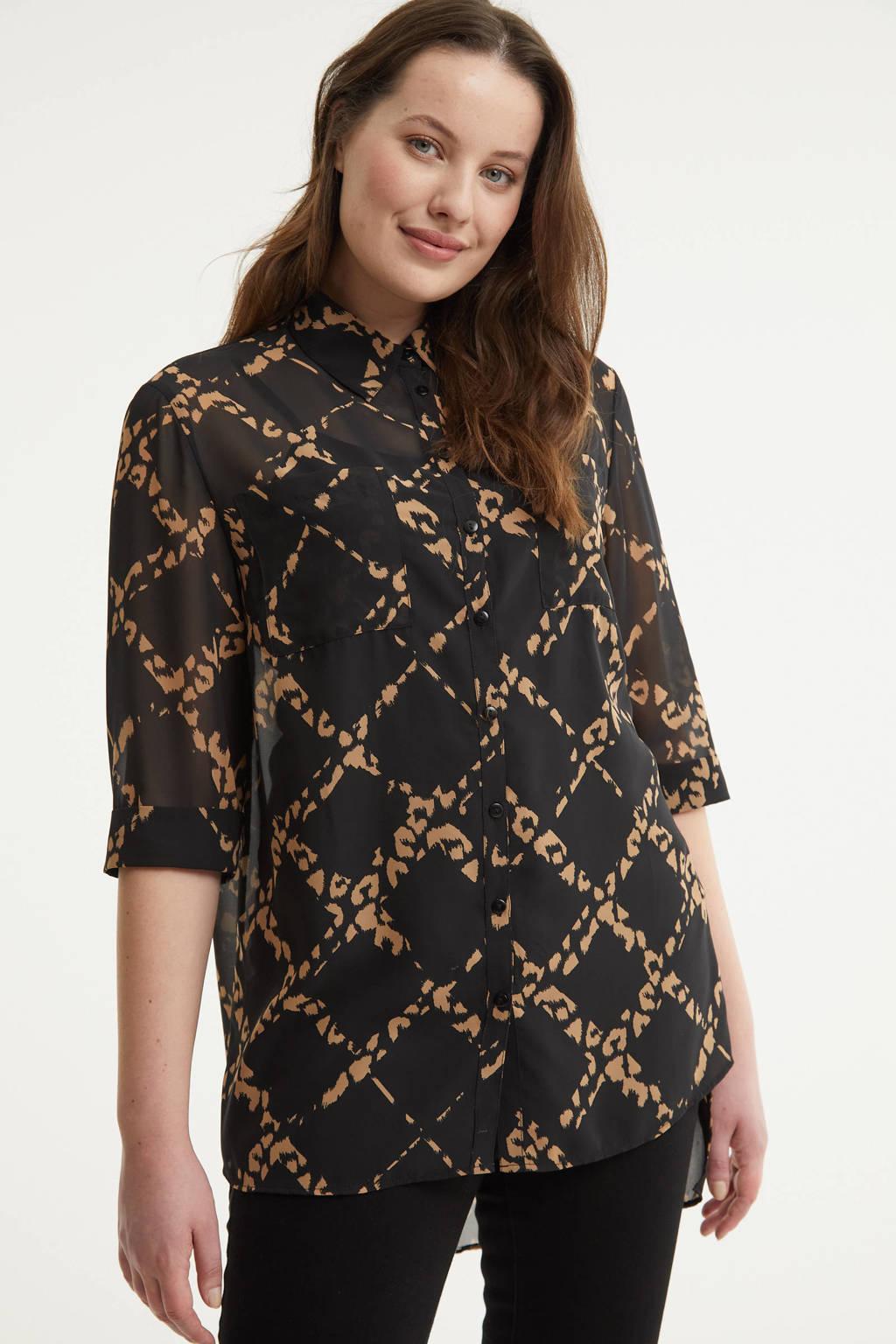 Simply Be semi-transparante blouse met all over print zwart/lichtbruin, Zwart/lichtbruin