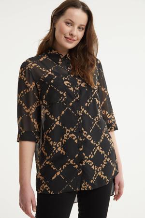 semi-transparante blouse met all over print zwart/lichtbruin