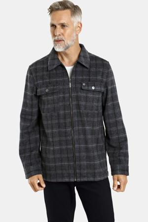 geruit loose fit overhemd Plus Size Edzard grijs