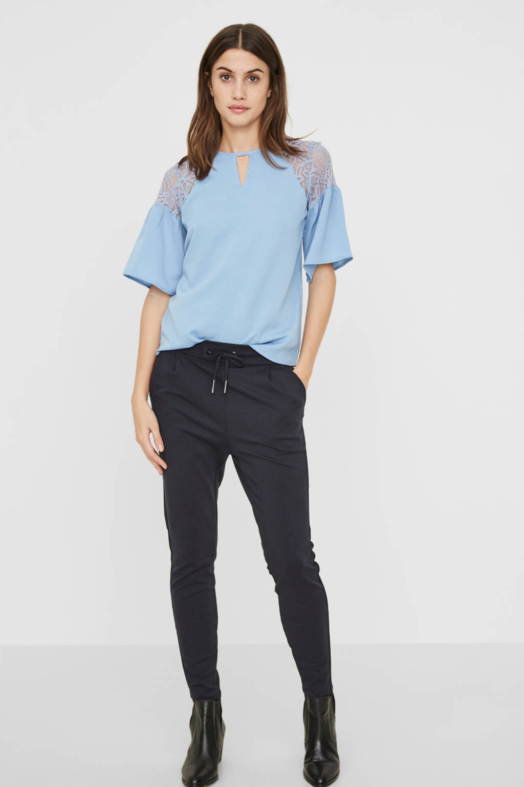 VERO MODA high waist tapered fit broek Eva donkerblauw, Donkerblauw