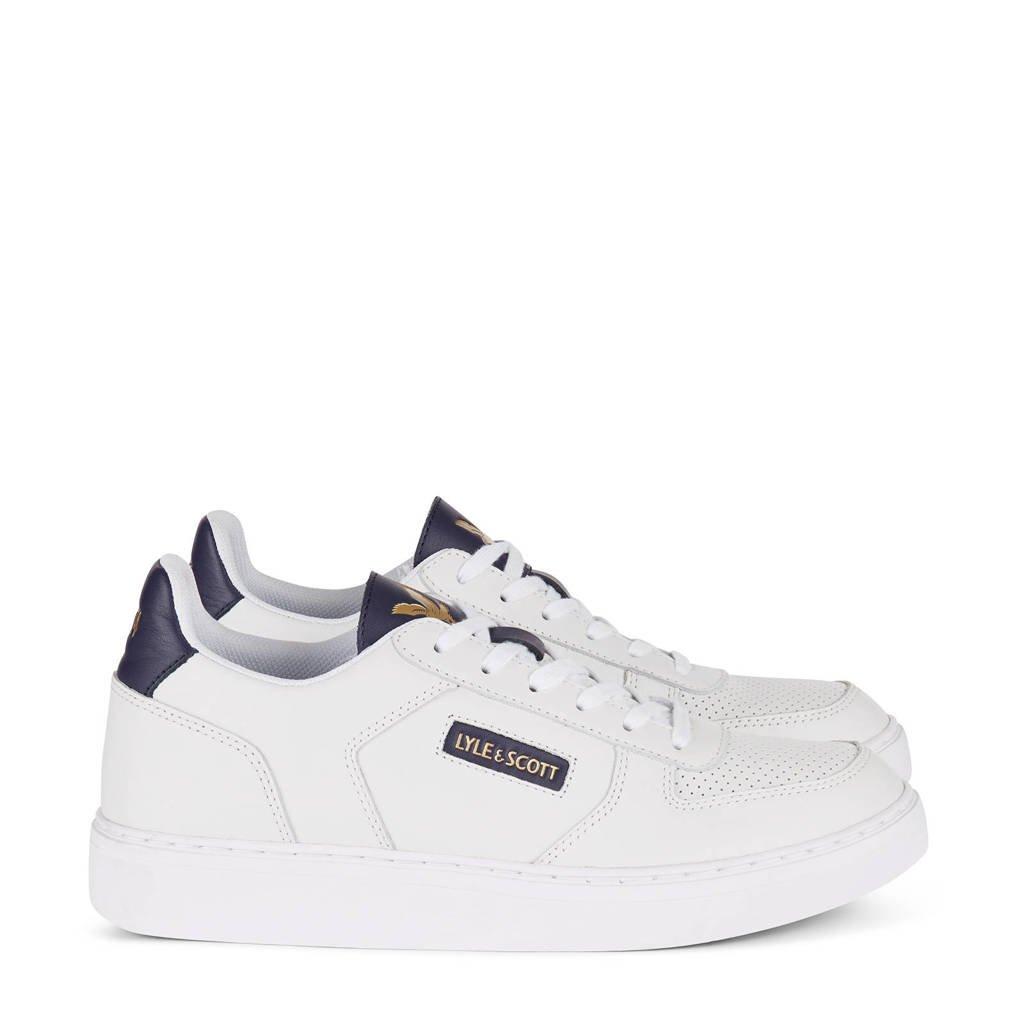 Lyle & Scott McMahon  leren sneakers wit/donkerblauw, Wit/donkerblauw