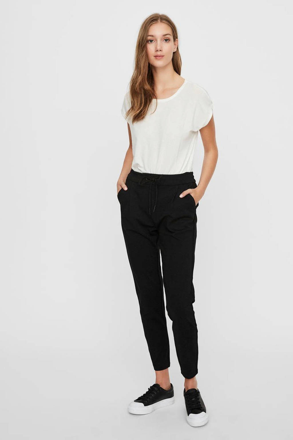 VERO MODA high waist tapered fit broek VMEVA zwart, Zwart