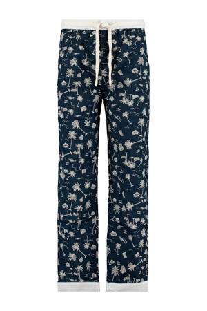 pyjamabroek donkerblauw/wit