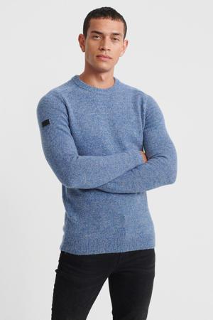 gemêleerde trui met wol blauw