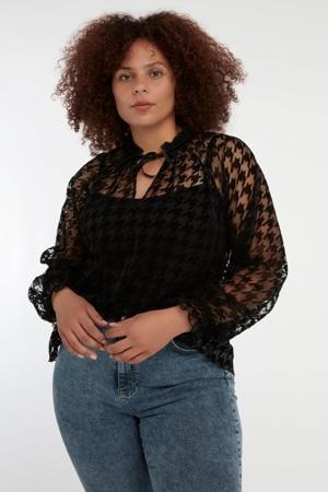 semi-transparante blouse met pied-de-poule en ruches zwart