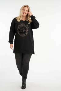 MS Mode sweater met printopdruk en strass steentjes zwart/goud, Zwart/goud