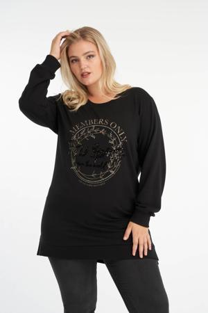 sweater met printopdruk en strass steentjes zwart/goud