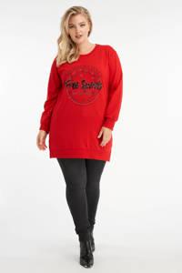 MS Mode sweater met printopdruk en pailletten rood/zwart, Rood/zwart