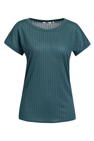 T-shirt met krijtstreep dark green