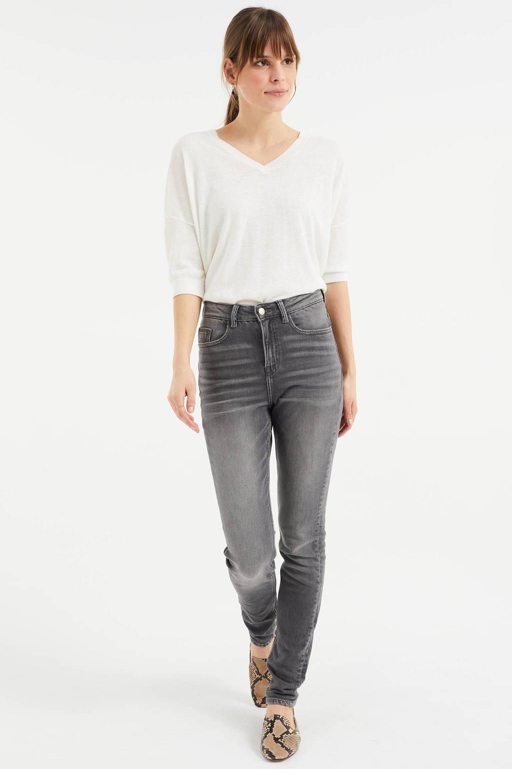 WE Fashion Blue Ridge high waist skinny jeans grijs, Grijs