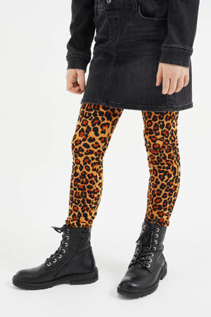 legging met panterprint bruin/zwart/donkeroranje