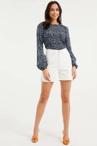 WE Fashion Blue Ridge high waist slim fit jeans short white uni, White Uni
