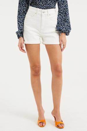 high waist slim fit jeans short white uni