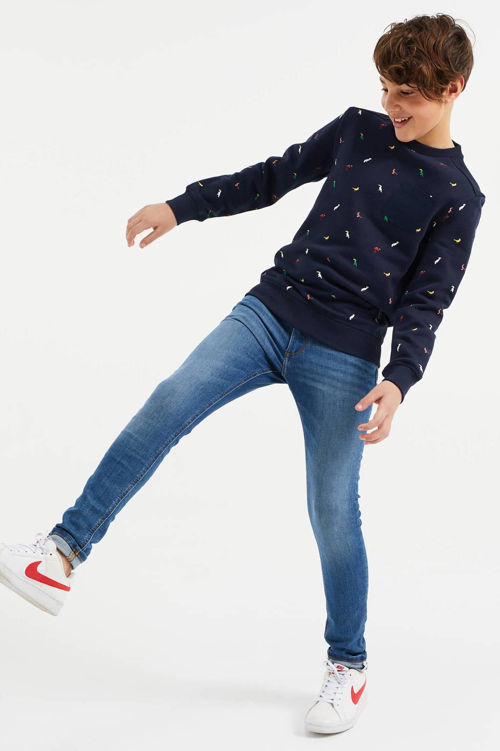 WE Fashion sweater met dierenprint donkerblauw, Donkerblauw