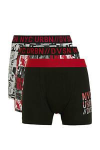 C&A Here & There   boxershort - set van 3 zwart/grijs melange/rood, Zwart/grijs melange/rood