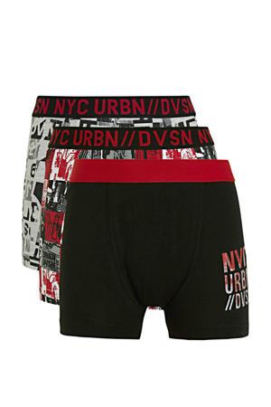 boxershort - set van 3 zwart/grijs melange/rood