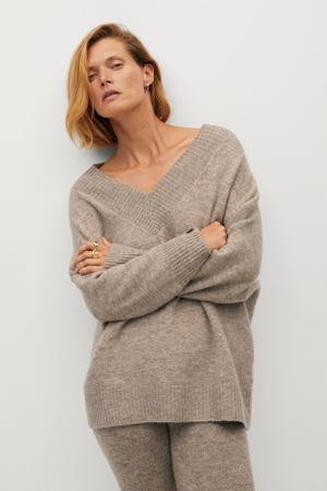 gemêleerde gebreide trui met wol lichtbruin