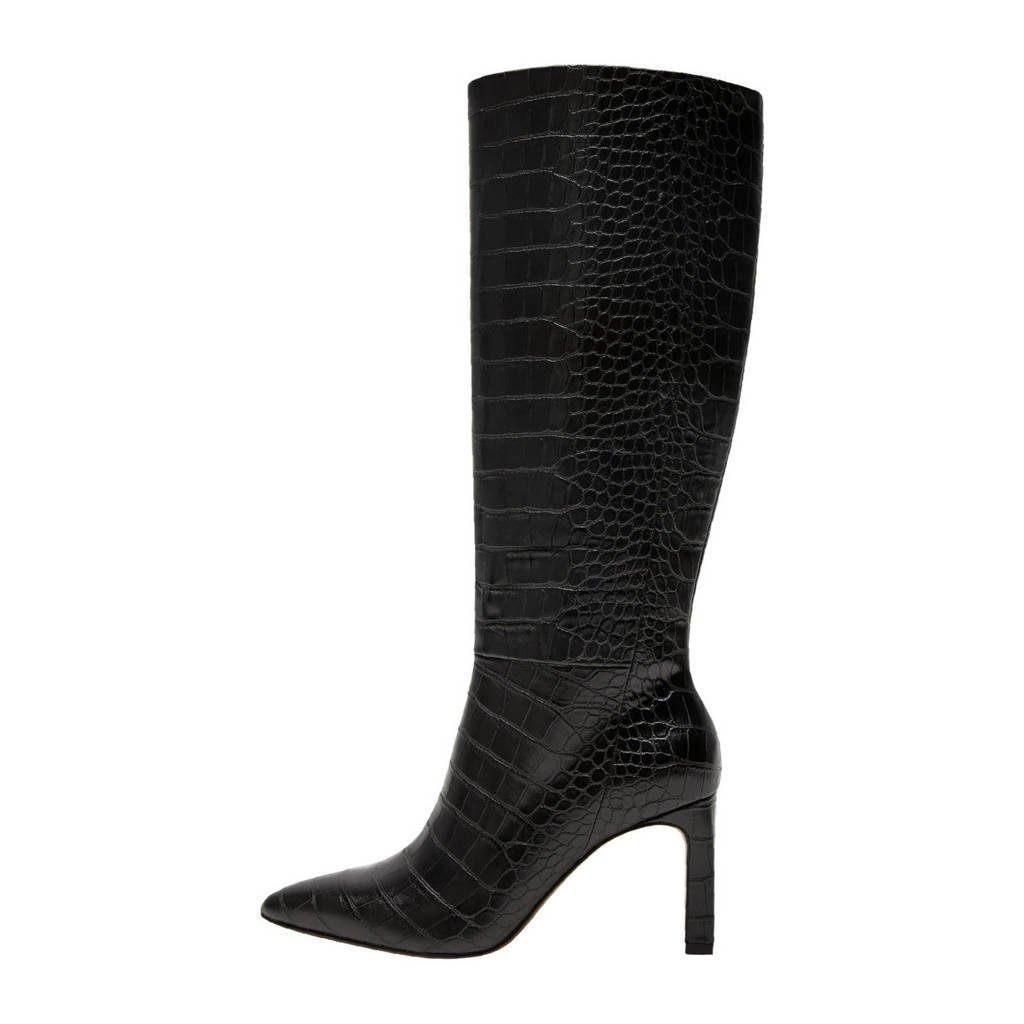 Mango   laarzen met crocoprint zwart, Zwart