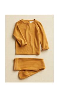 Mango Kids gebreide trui met biologisch katoen bruingeel, Bruingeel