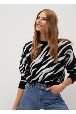 gebreide trui met wol en zebraprint zwart/ wit