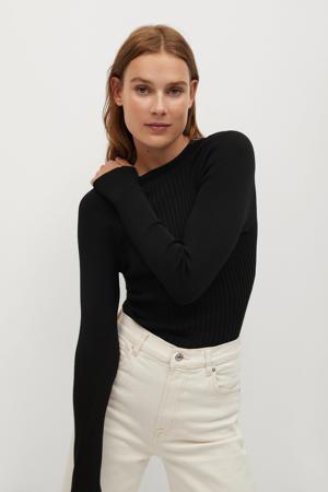 ribgebreide trui met open detail zwart