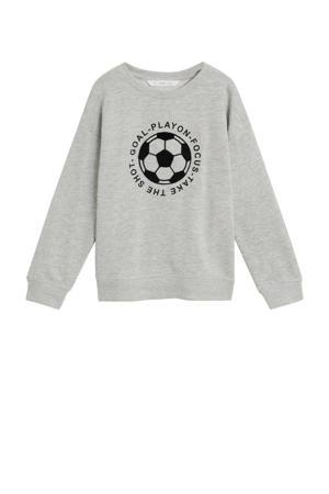 sweater met printopdruk grijs melange