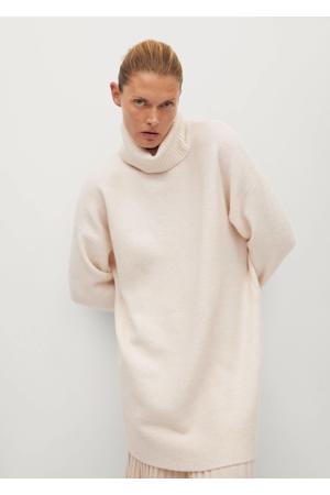 gebreide jurk met wol gebroken wit