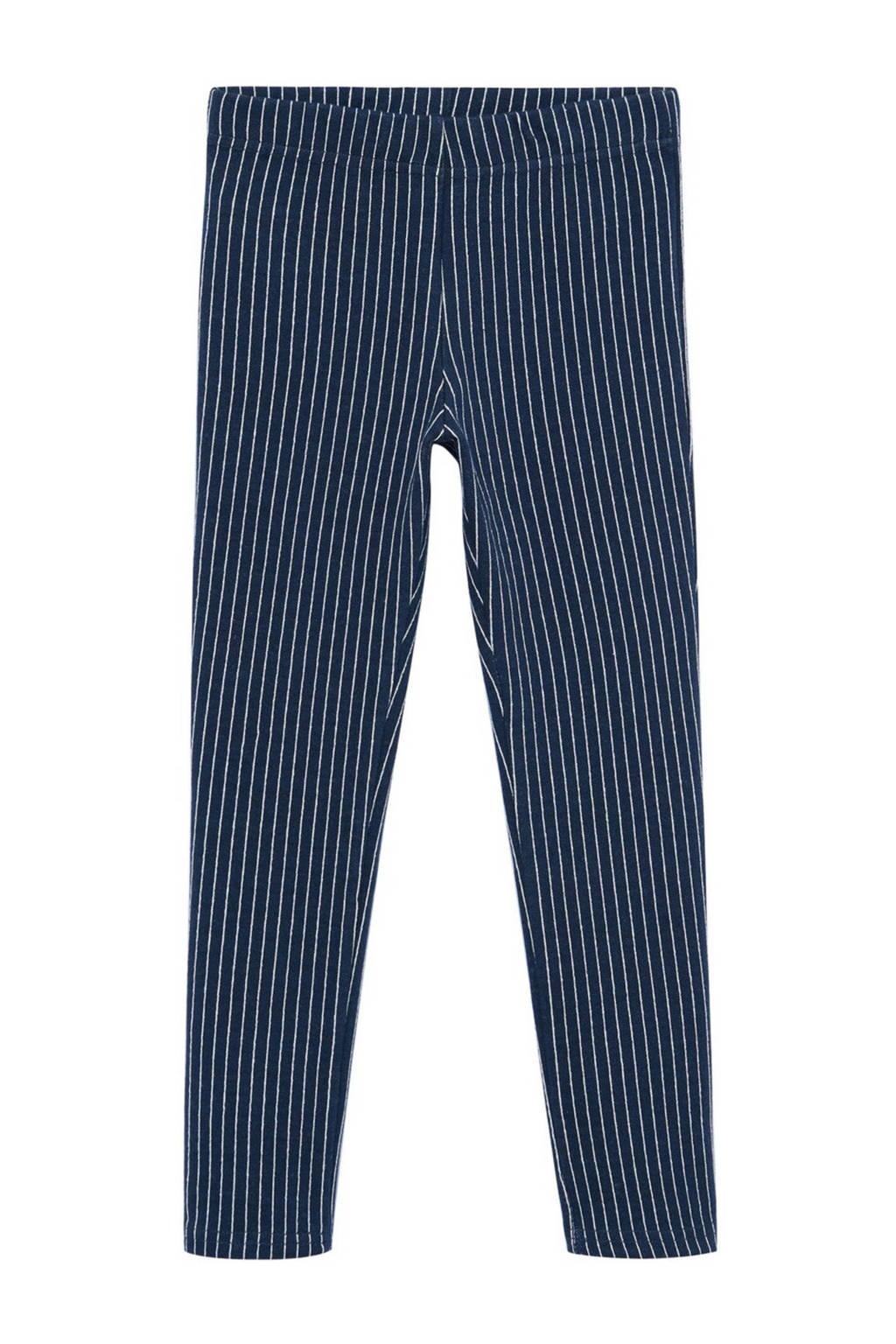 Mango Kids gestreepte legging met biologisch katoen donkerblauw/wit, Donkerblauw/wit