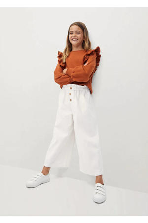 corduroy cropped broek naturel wit