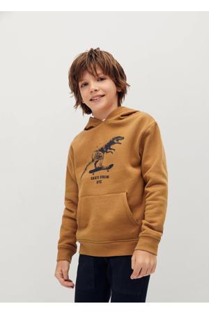 hoodie met printopdruk bruin