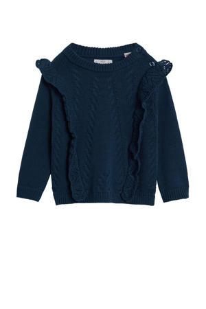 gebreide trui met ruches donkerblauw