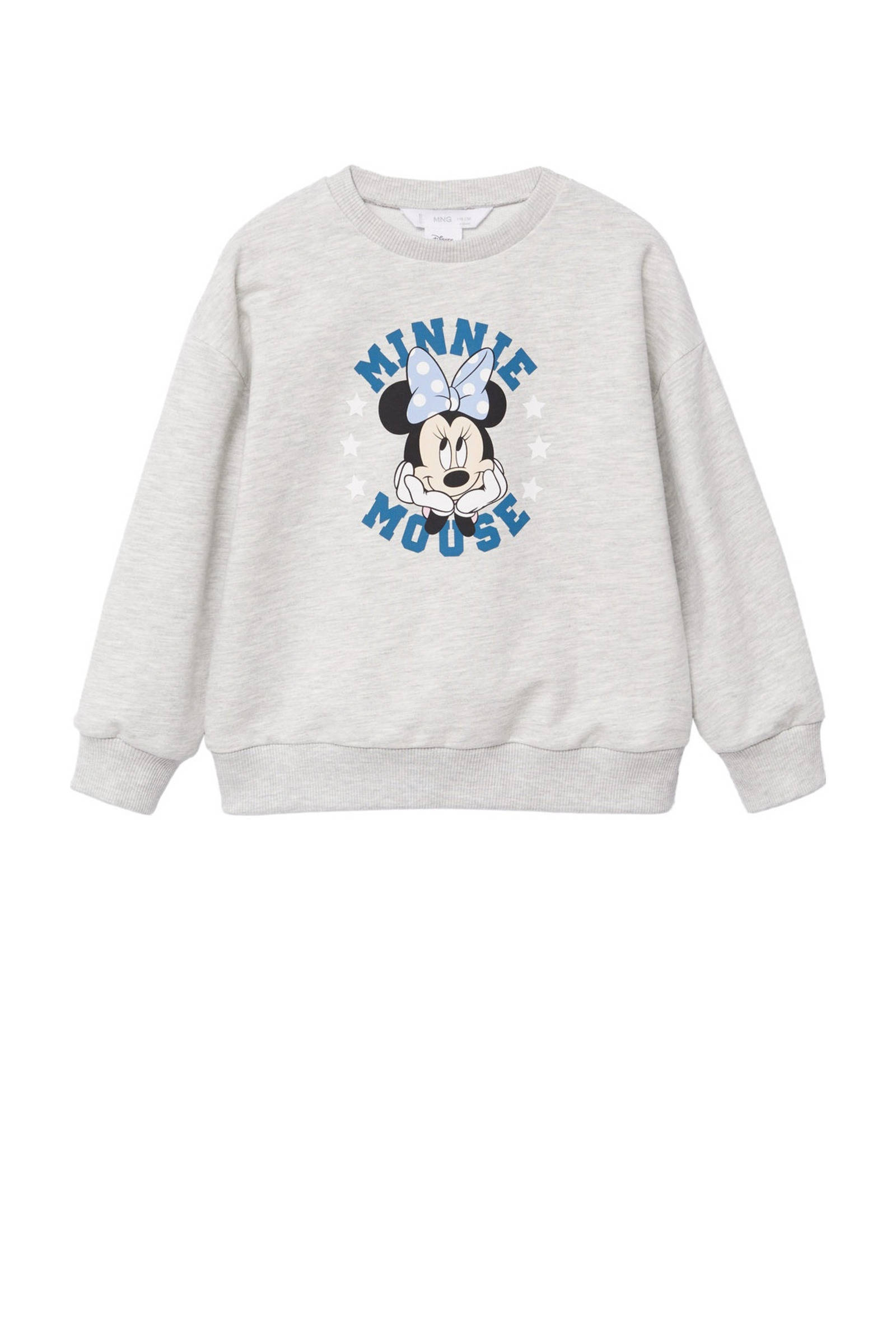 Mango Kids Minnie Mouse sweater met printopdruk lichtgrijs