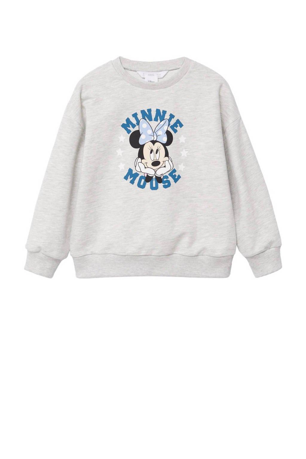 Mango Kids Minnie Mouse sweater met printopdruk lichtgrijs melange, Lichtgrijs melange
