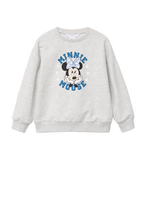 Minnie Mouse sweater met printopdruk lichtgrijs melange