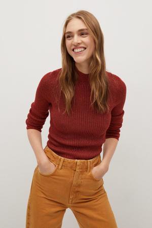 gemêleerde ribgebreide trui roodbrui