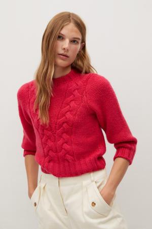 gebreide trui met textuur helderroze