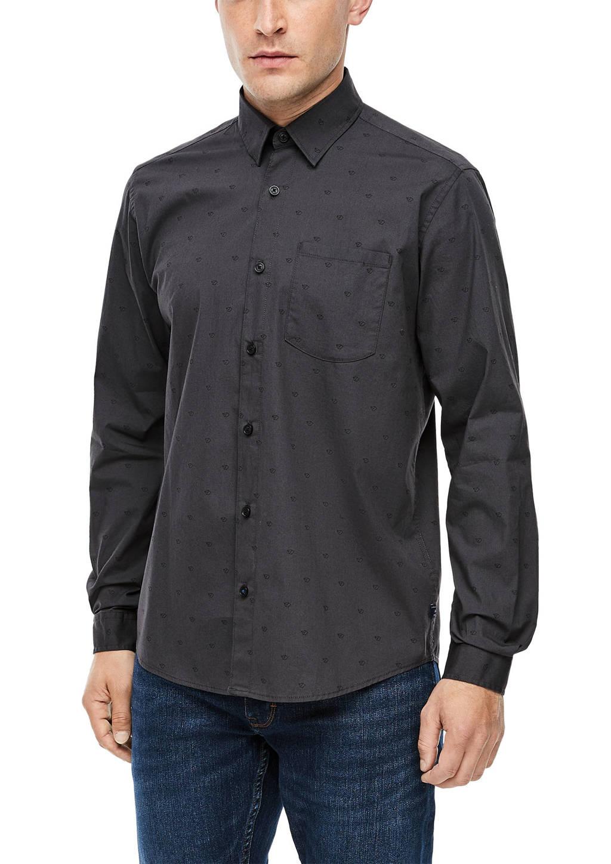 s.Oliver regular fit denim overhemd met all over print donkergrijs, Donkergrijs