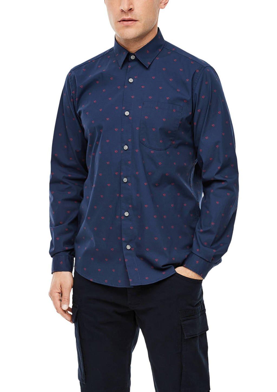 s.Oliver regular fit denim overhemd met all over print donkerblauw, Donkerblauw