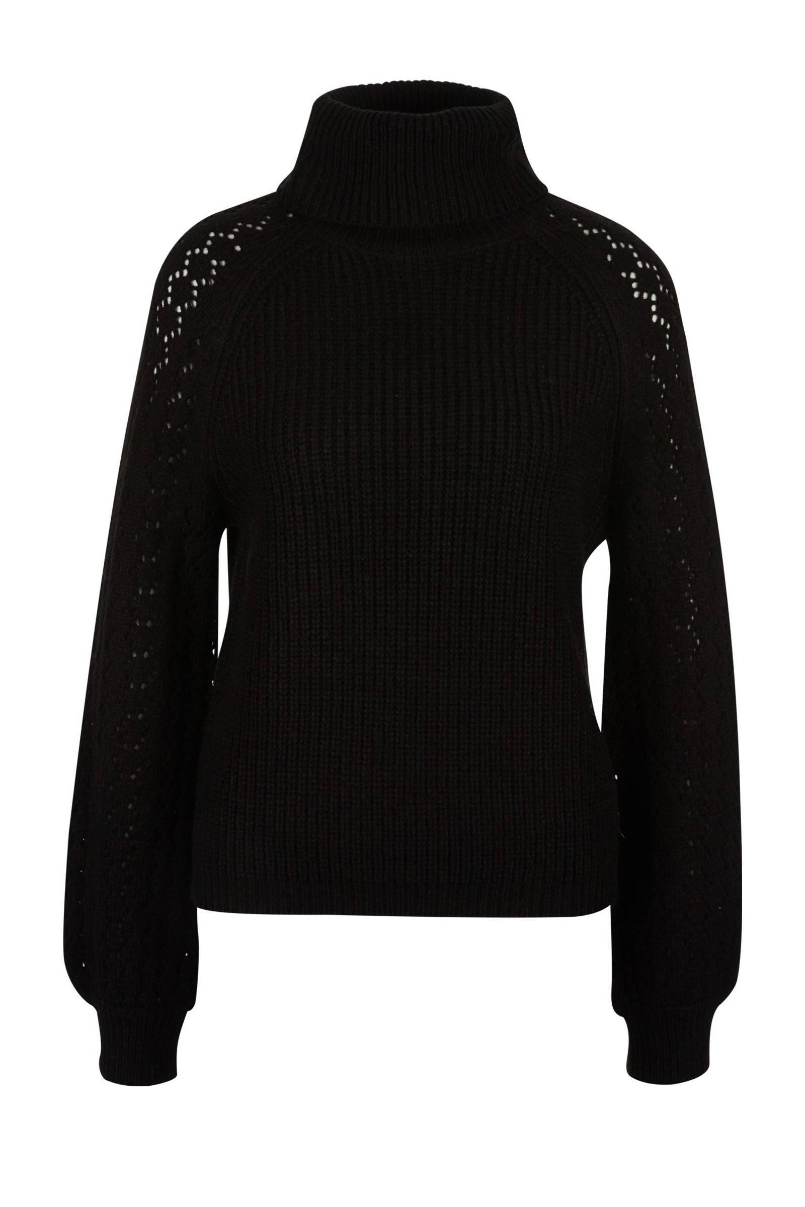 QS designed by gebreide trui met col zwart | wehkamp