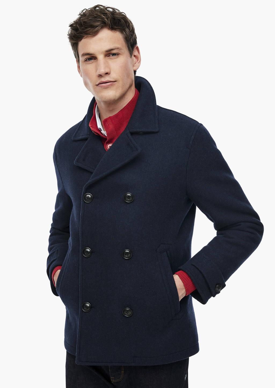 s.Oliver coat met wol donkerblauw, Donkerblauw