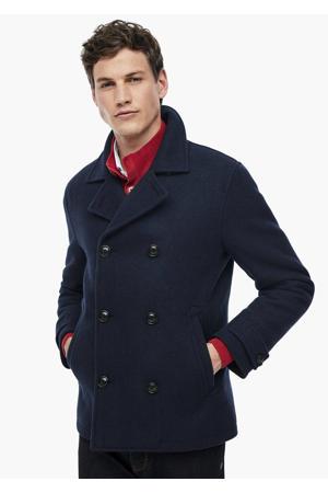 coat met wol donkerblauw