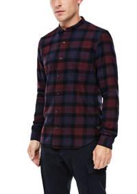 s.Oliver geruit regular fit overhemd donkerrood, Donkerrood